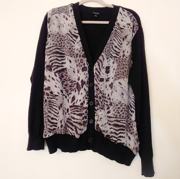 torrid Sweaters - Torrid Cardigan Sweater Black, Sheer Animal Print